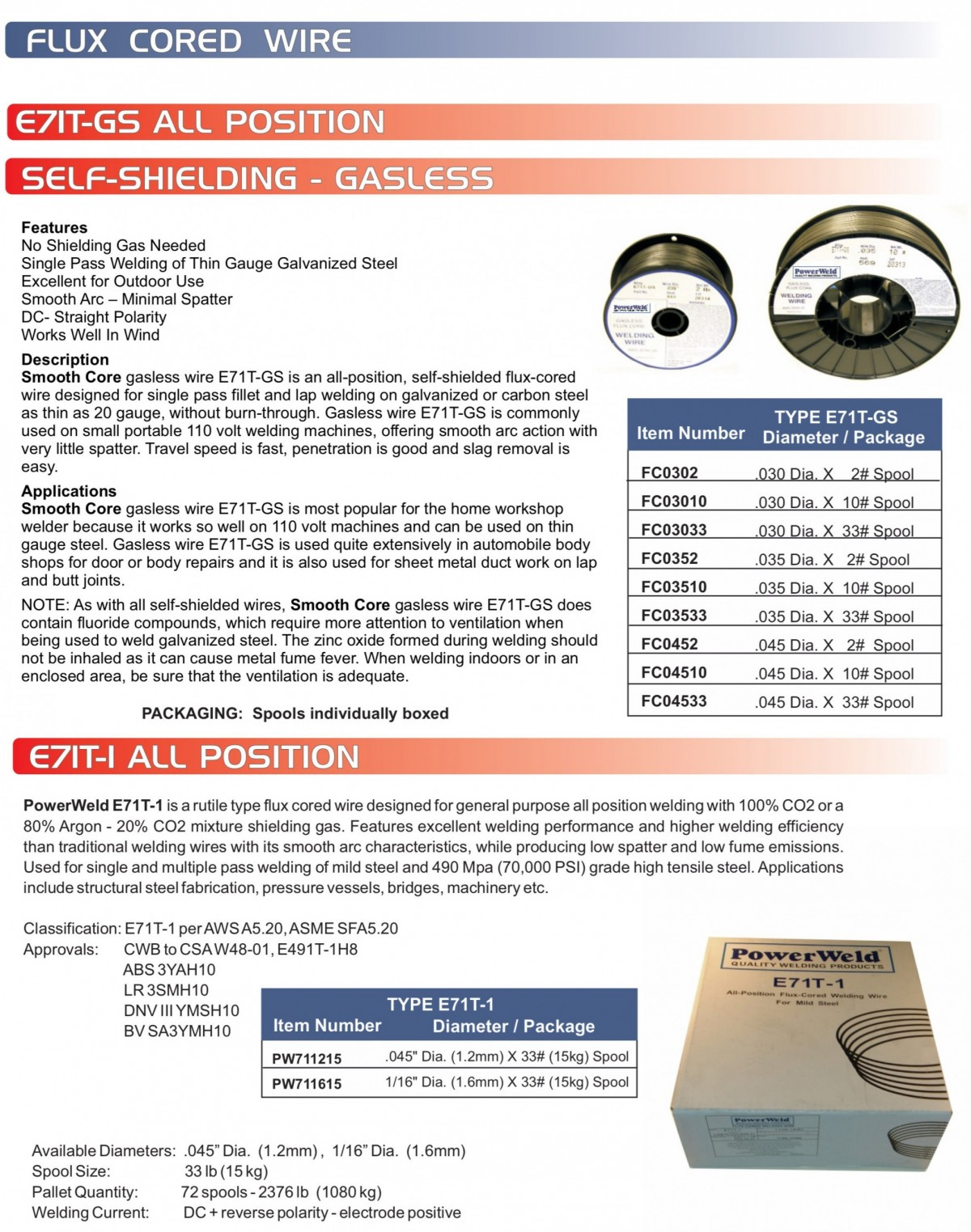 PowerWeld Inc. :: Filler Metal Products :: Flux Cored Wire