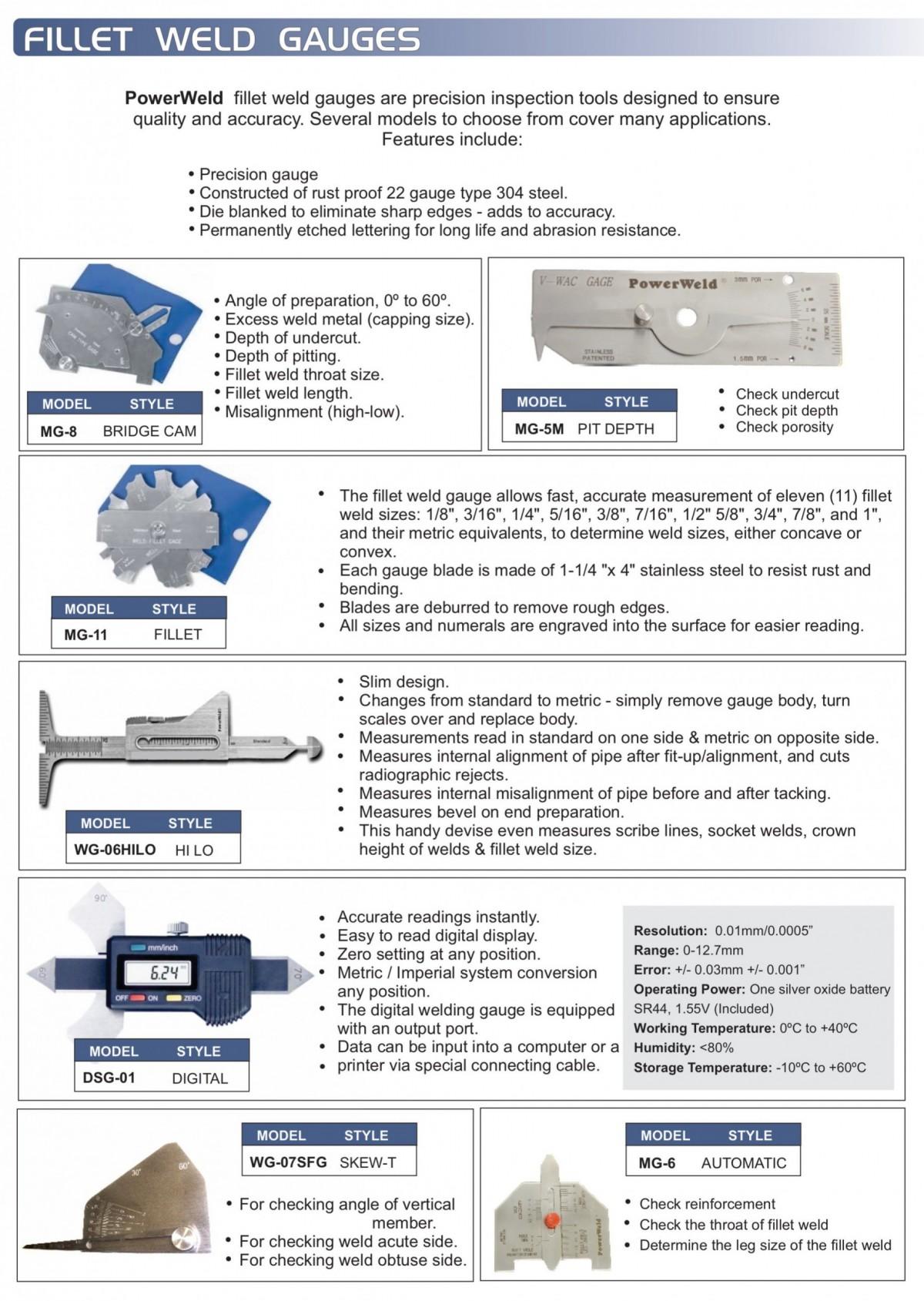 Powerweld Inc Miscellaneous Products Fillet Weld Gauges