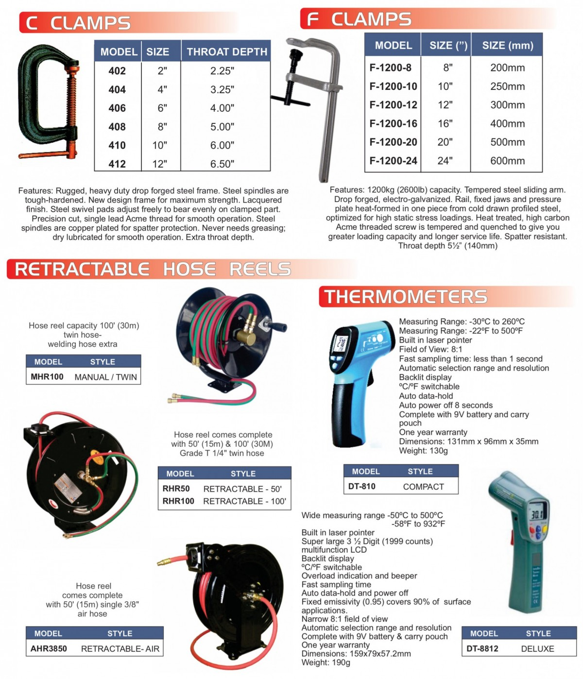 C & F Clamps, Retractable Hose Reels, Thermometers