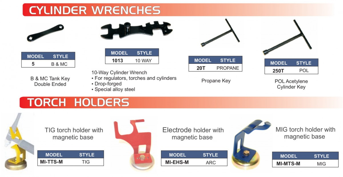 Cylinder Wrenches, MIG & TIG Torch & Electrode Holders